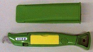 Groen haak mes met 20 haakmesjes